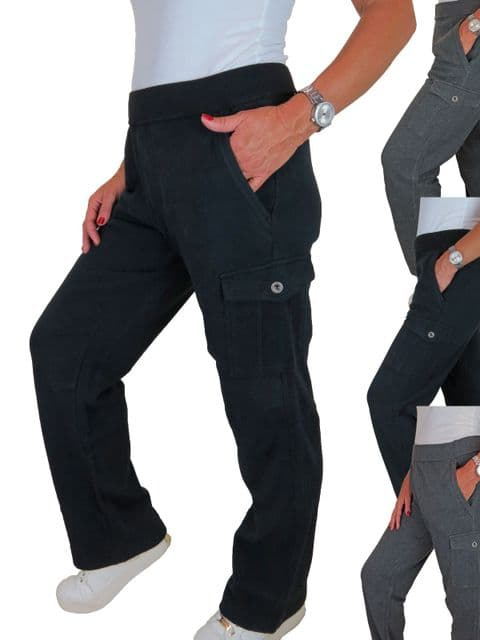 Womens Soft Loose Fit Cargo Sweatpants With Pockets